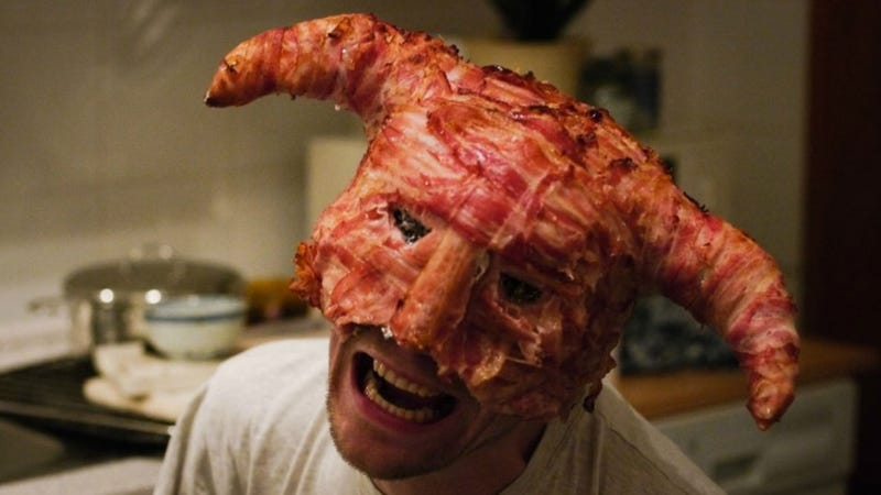 """Illustration for article titled A Skyrim Helmet Made of Bacon. Shout """"Delicious""""."""