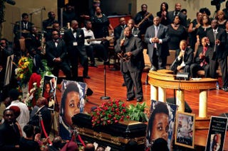 Hundreds attend the funeral of Michael Brown at the Friendly Temple Missionary Baptist Church August 25, 2014 in St. Louis, Missouri.Robert Cohen-Pool/Getty Images
