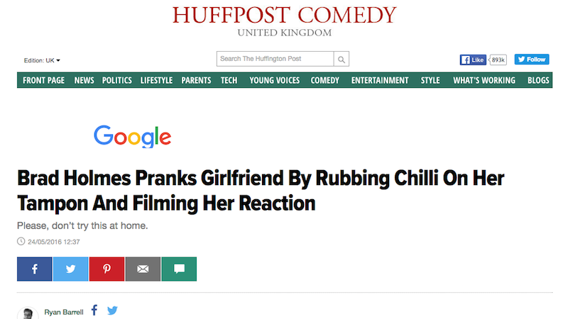 Illustration for article titled HuffPo Publishes, Deletes Video of Man Secretly Rubbing Chili on Girlfriend's Tampon