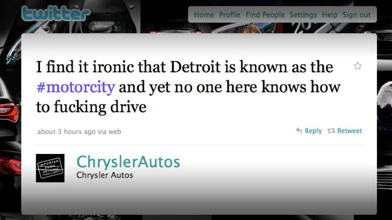 Illustration for article titled Chrysler loses control of Twitter account, drops F-bomb