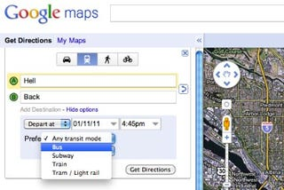Illustration for article titled When Taking Public Transit, Google Maps Will Help Minimize Your Time Spent Outdoors