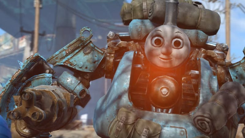 Illustration for article titled Fallout 4 Robots Are Way More Intimidating With a Thomas Head