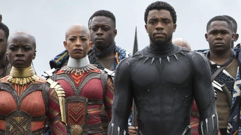 Okoye (Danai Gurira) flanks her king, T'Challa (Chadwick Boseman) in Avengers: Infinity War.