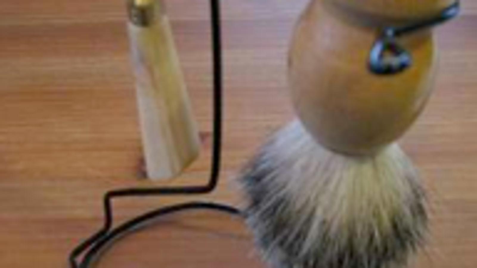 diy razor and shaving brush stand. Black Bedroom Furniture Sets. Home Design Ideas