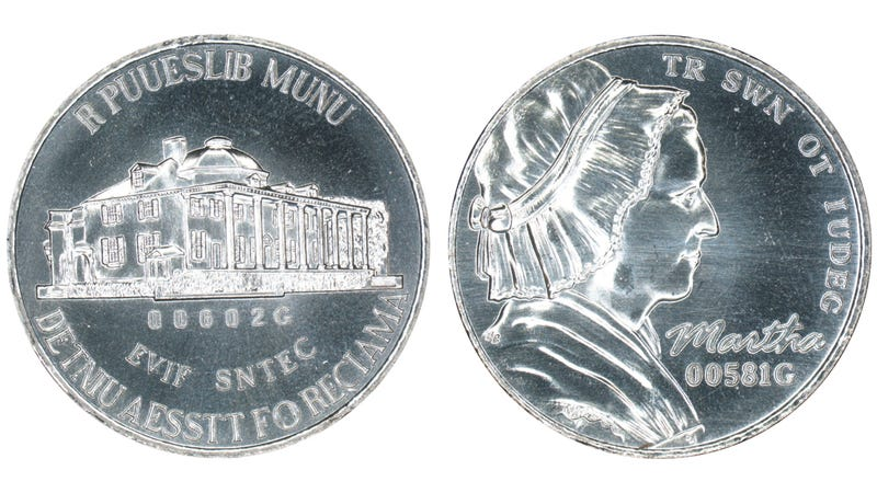 """To comply with anti-counterfeiting rules, new coins are tested with a non-standard, """"dummy"""" design."""