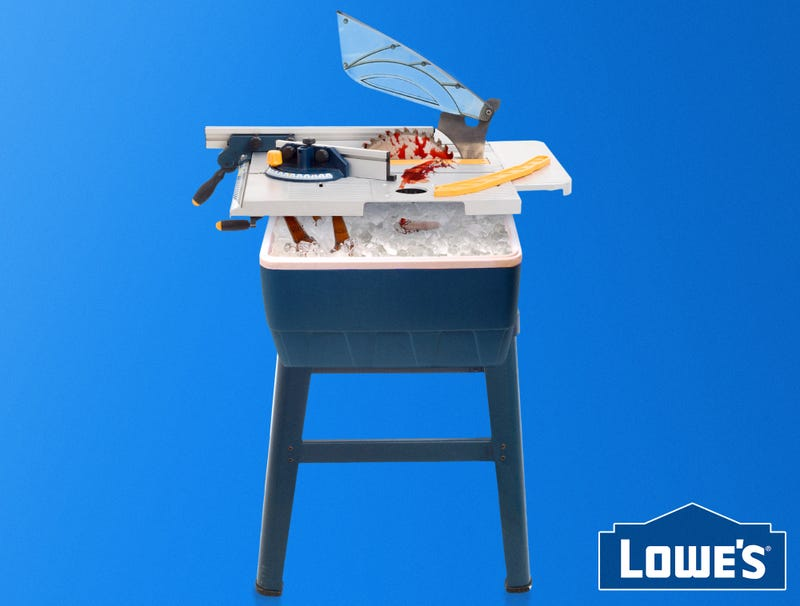 Ilration For Article Led Lowe S Unveils New Table Saw With Attached Ice Chest Storing Cut