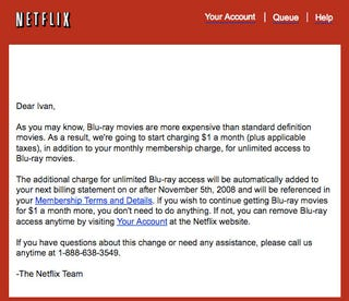 Illustration for article titled Netflix Charging $1 More to Blu-ray Renters