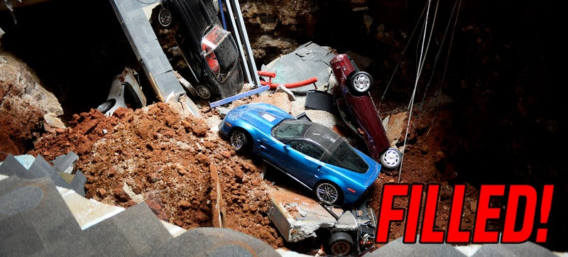 Illustration for article titled Corvette Museum Sinkhole Filled; National Nightmare Over