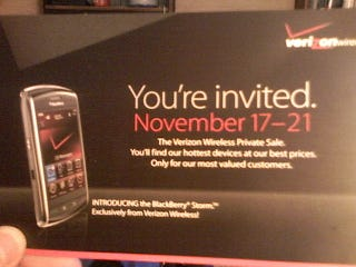 Illustration for article titled Verizon Private Pre-Sale To Include BlackBerry Storm Next Week