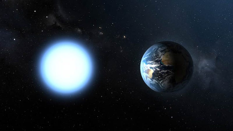 Illustration for article titled What the Earth Looks Like Next to a Dwarf Star?