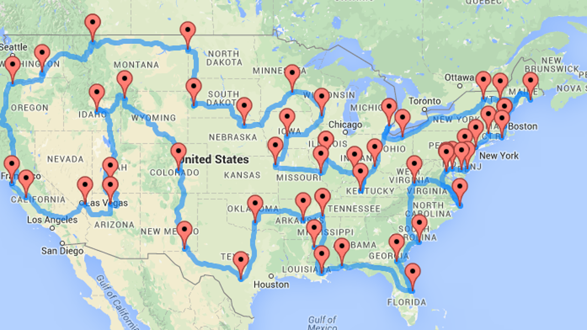 The Ten Best Routes For Driving Across America California Road Trip Planner Map on
