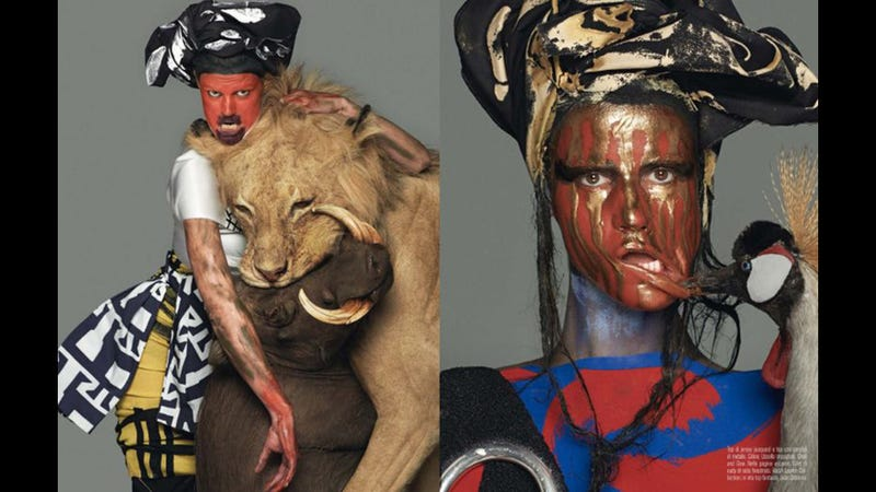 Illustration for article titled Ugh: White Model Dons Tribal-Style Face Paint for Vogue Italia Shoot