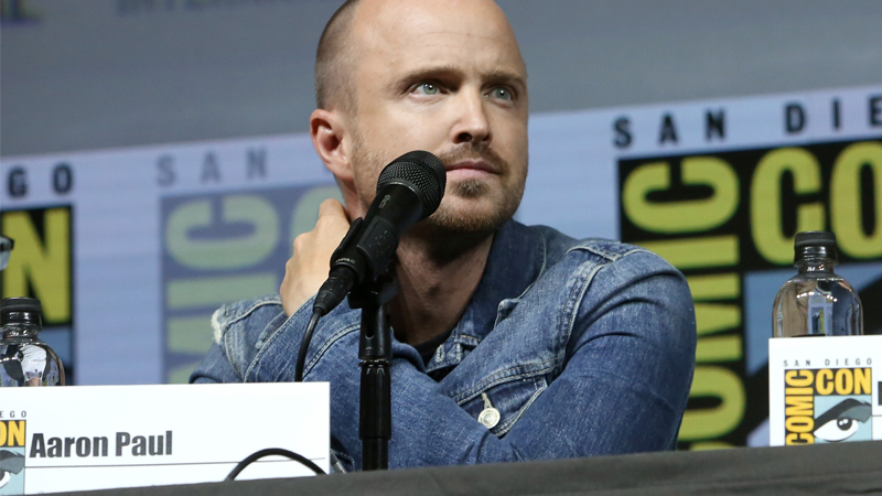 A conveniently labeled Aaron Paul, attending a 10th anniversary celebration of Breaking Bad at San Diego Comic-Con 2018.