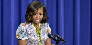 Michelle Obama with her new highlights (Jewel Samad/Getty Images)