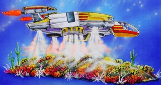 Illustration for article titled Honda Creates Giant Transforming Ridgeline Rocketship for the Rose Bowl
