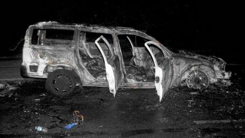 Illustration for article titled An R/C Car Bomb Blew Up This Real Car... And Everyone Survived