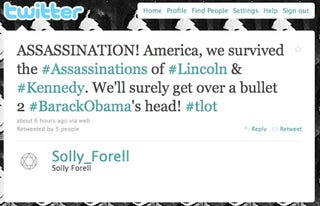 Illustration for article titled Conservative Blogger Calls For Obama's Assassination On Twitter (Updated)