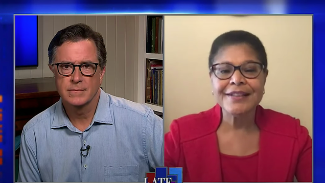 Stephen Colbert interviews the congresswoman set to unveil sweeping police reform on Monday