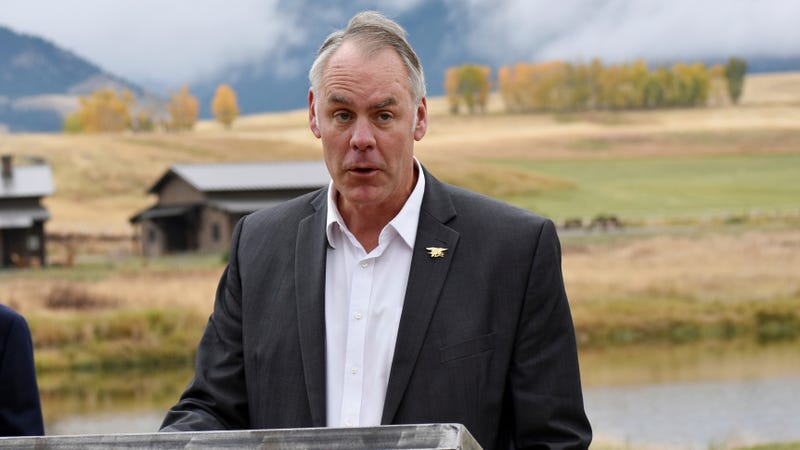 Ryan Zinke announcing a ban on new mining claims in mountains north of Yellowstone National Park near Emigrant, Montana in October 2018.