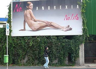 Isabelle Caro models anorexia.