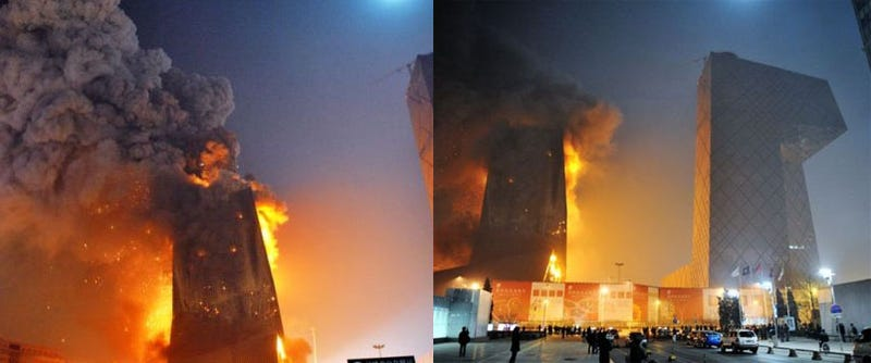 Illustration for article titled Building Near Beijing's Rem Koolhaas-Designed CCTV Headquarters is Up in Flames