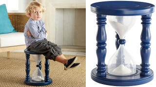 Illustration for article titled Hourglass Timer Stool Nixes Tantrums in Just 5 Minutes