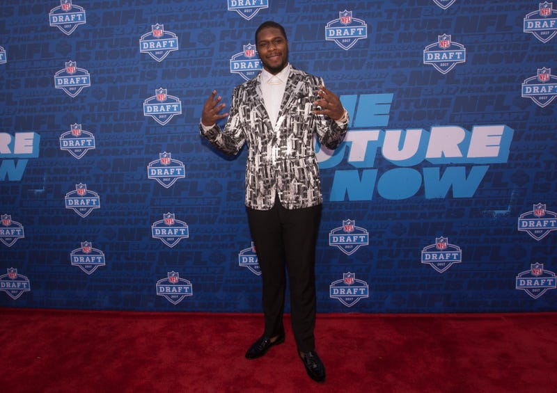 Malik McDowell poses for a picture on the red carpet prior to the start of the 2017 NFL Draft on April 27, 2017, in Philadelphia.