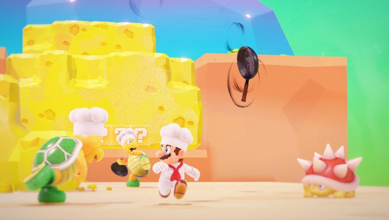Illustration for article titled 'It's Simply Bursting With Creative Wonder,' Says Reviewer Of New Game Where Mario Sometimes Dresses As Chef