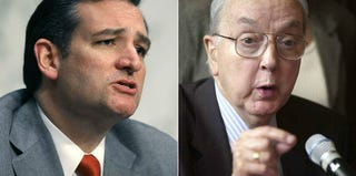 Sen. Ted Cruz (Mark Wilson/Getty Images); Sen. Jesse Helms (Susana Gonzalez/Getty Images)