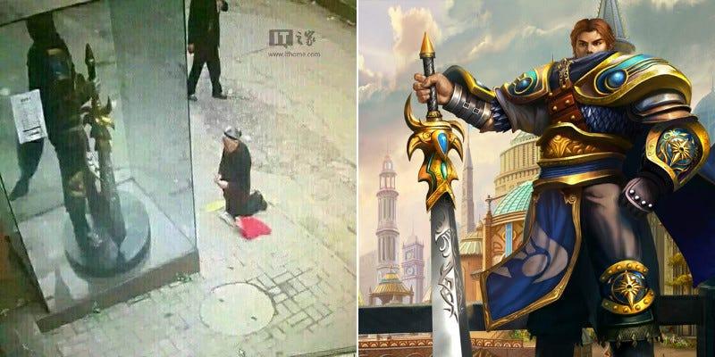 Una anciana china le reza por error a la estatua de un personaje del juego League of Legends