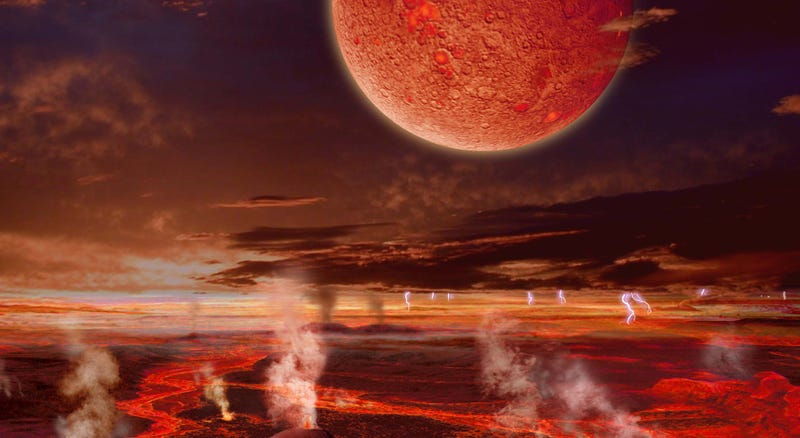 """Illustration for article titled New Theory: A """"Hit and Run"""" Accident Created Our Moon"""