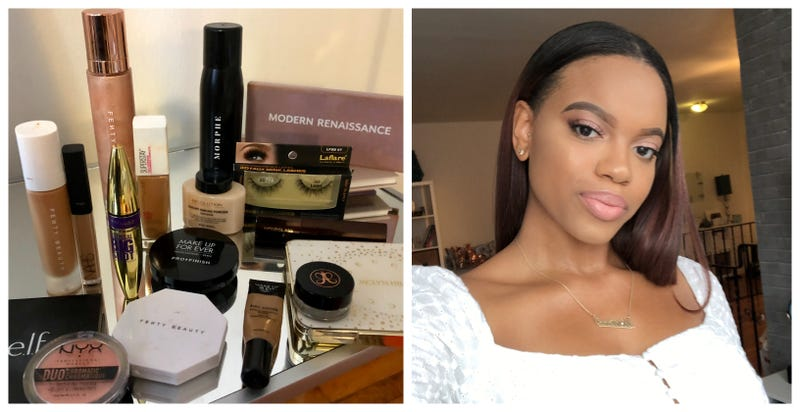 A selfie of my makeup with products I have.