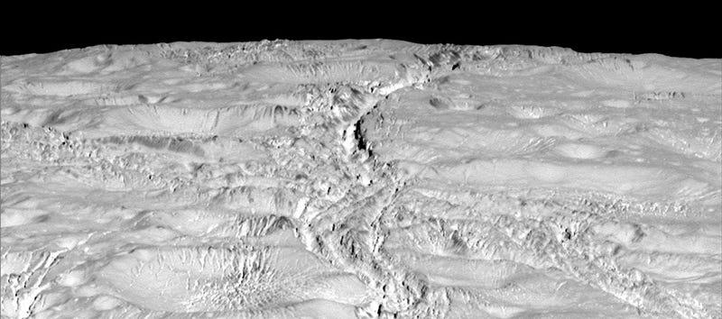 Illustration for article titled Nuevas fotos de Encélado muestran una extensa red de grietas en la luna de Saturno