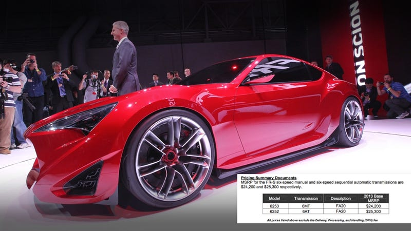 Illustration for article titled The Scion FR-S Will Cost $24,200