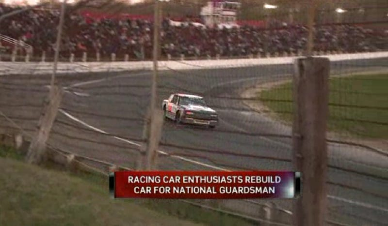 Illustration for article titled Awesome Race Drivers Rebuild Crashed Car For National Guardsman