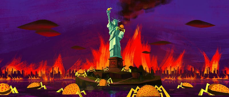 Illustration for article titled Cheese Spiders take the Statue of Liberty in Cloudy 2 concept art