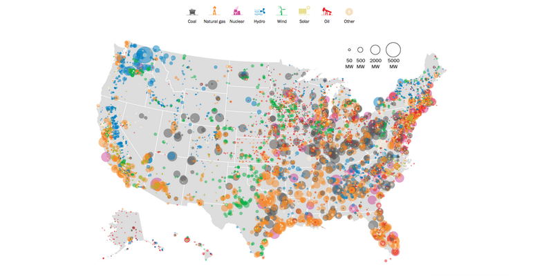 Illustration for article titled U.S. Energy Generation, Mapped in Wonderful Detail