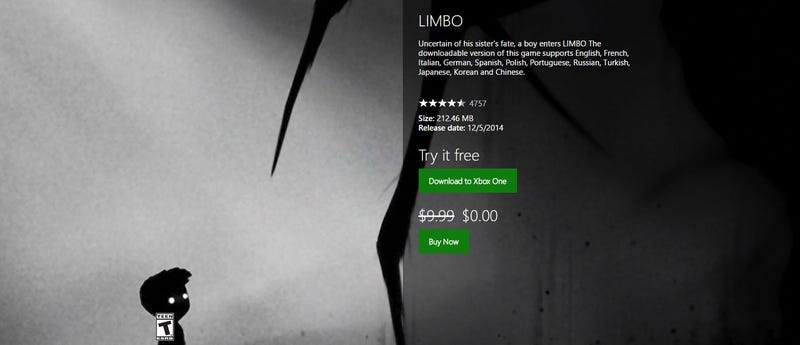 Illustration for article titled Limbo Is Currently Free On Xbox