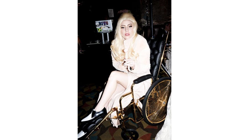 Illustration for article titled Lady Gaga Recovering From Hip Surgery in 24K Gold Wheelchair (Naturally)