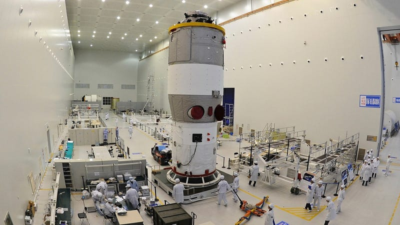 An undated photo of Chinese technicians working on Tiangong-1.