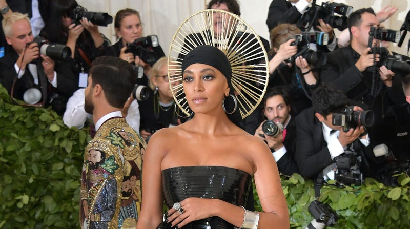 Solange Knowles attends the Heavenly Bodies: Fashion & the Catholic Imagination Costume Institute Gala at the Metropolitan Museum of Art on May 7, 2018, in New York City.