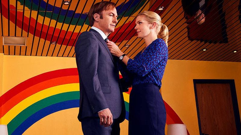 Bob Odenkirk and Rhea Seehorn star in Better Call Saul (Photo: Robert Trachtenberg/AMC/Sony Pictures)