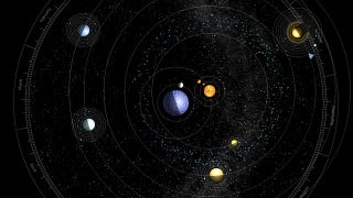 Illustration for article titled How our solar system would actually look with Earth at its center
