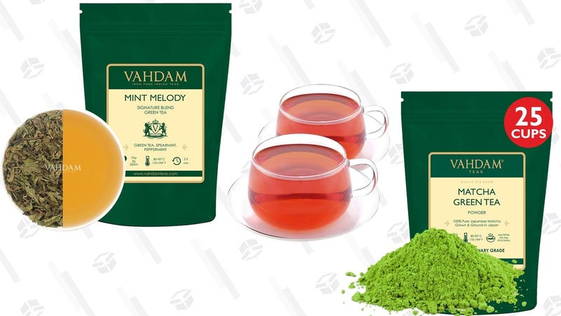 Gold Box de té Vahdam y Superfood | AmazonGráfico: Shep McAllister