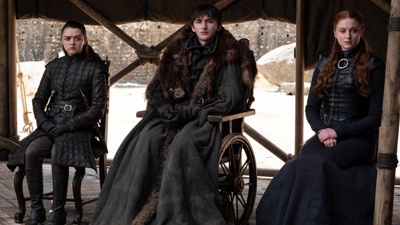 Season 8, episode 6 / series finale (debut 5/19/19) of Game of Thrones; (l-r): Maisie Williams, Isaac Hempstead Wright, Sophie Turner.