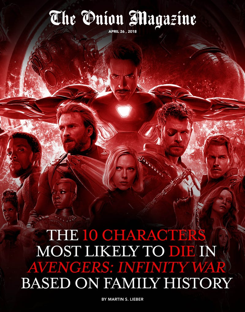 Illustration for article titled The 10 Characters Most Likely To Die In 'Avengers: Infinity War,' According To Family Medical History
