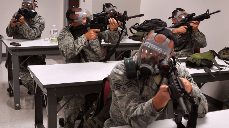 Illustration for article titled Zombie Defense 101 Or US Air Force Students?