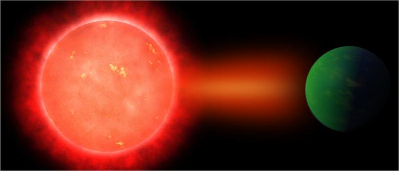 Un planeta brilla intensamente al ser alcanzado por la fulguración solar de una estrella enana M. Imagen: Jack O'Malley James