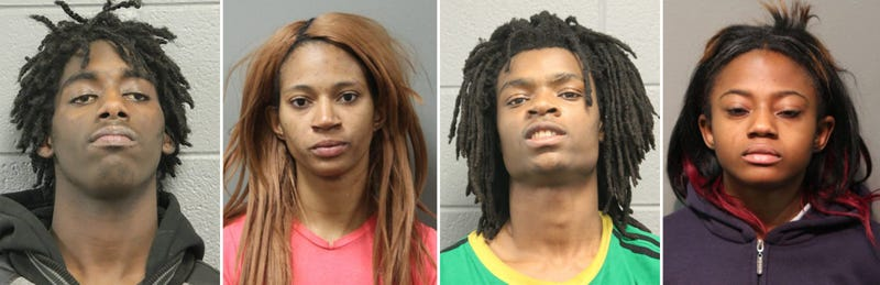 Jordan Hill, 18, Tanishia Covington, 24, Tesfaye Cooper, 18, and Brittany Covington, 28Chicago Police Department