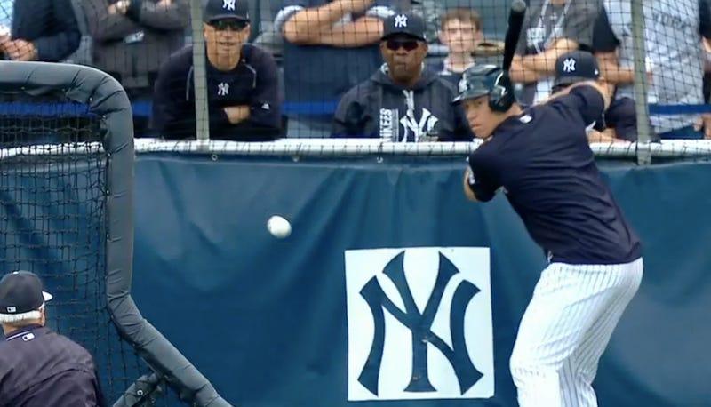 Illustration for article titled Yankees' Aaron Judge Sows Destruction During Batting Practice